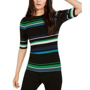 INC Short Sleeve Metallic Striped Ribbed Sweater